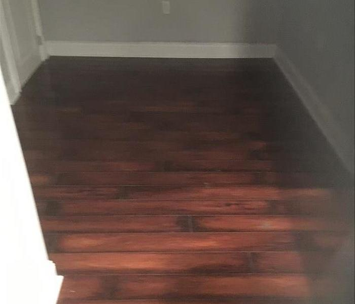 the wood floor is dry, free of water and moisture