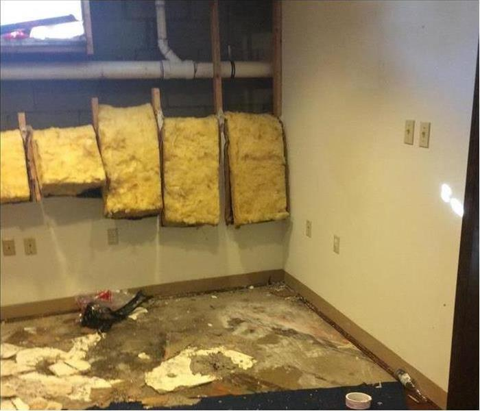 removed walls, hanging insulation flooring removed